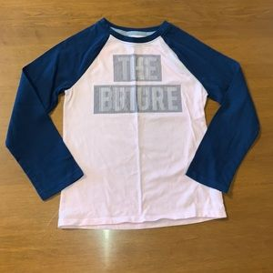 Athletic Works Pink & Blue Baseball T-Shirt S 6/6X
